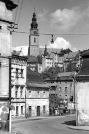 Widok z Placu Szpitalnego na kościół, fot. Tadeusz Scelina (ok. 1950 r.)